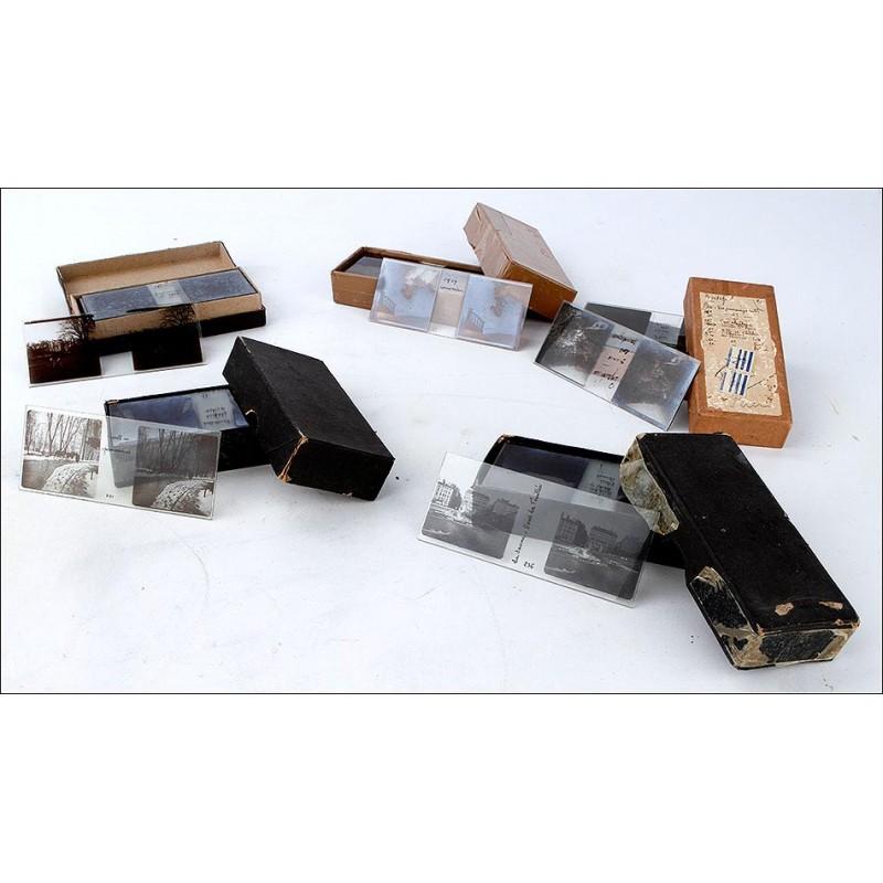 Completo Lote de 100 Placas Estereoscópicas sobre Vidrio. 45x107. Francia, Principios S. XX