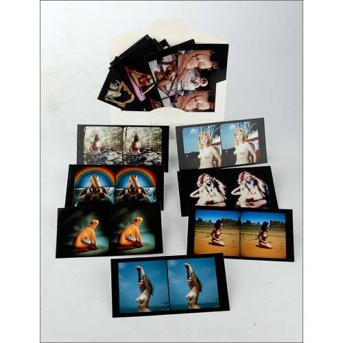 Atractivo Lote de 37 Fotos Estereoscópicas de Temática Erótica. Reproducciones. Años 70
