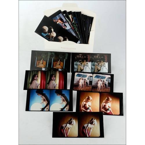 Evocador Lote de 36 Fotos Estereoscópicas Eróticas. Reproducciones. Años 70