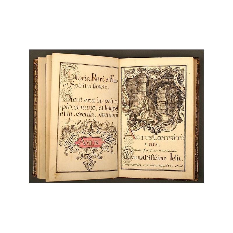 """Libro Manuscrito Religioso """"Diurnum Pietatis Christianae Exercitium"""", Año 1771"""