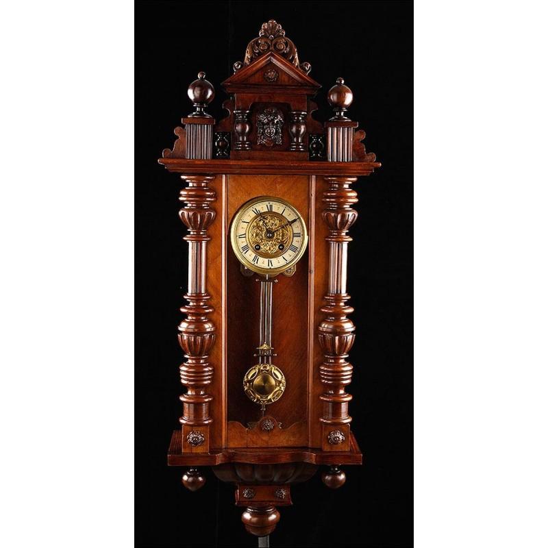 Fantástico Reloj de Pared Aiglon Funcionando Perfectamente. Francia, Circa 1890