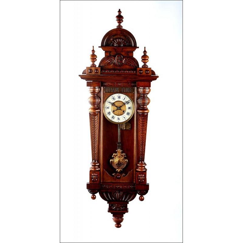 Importante Reloj de Estación de Tren Antiguo. Sonería de Cuartos. Alemania, Siglo XIX