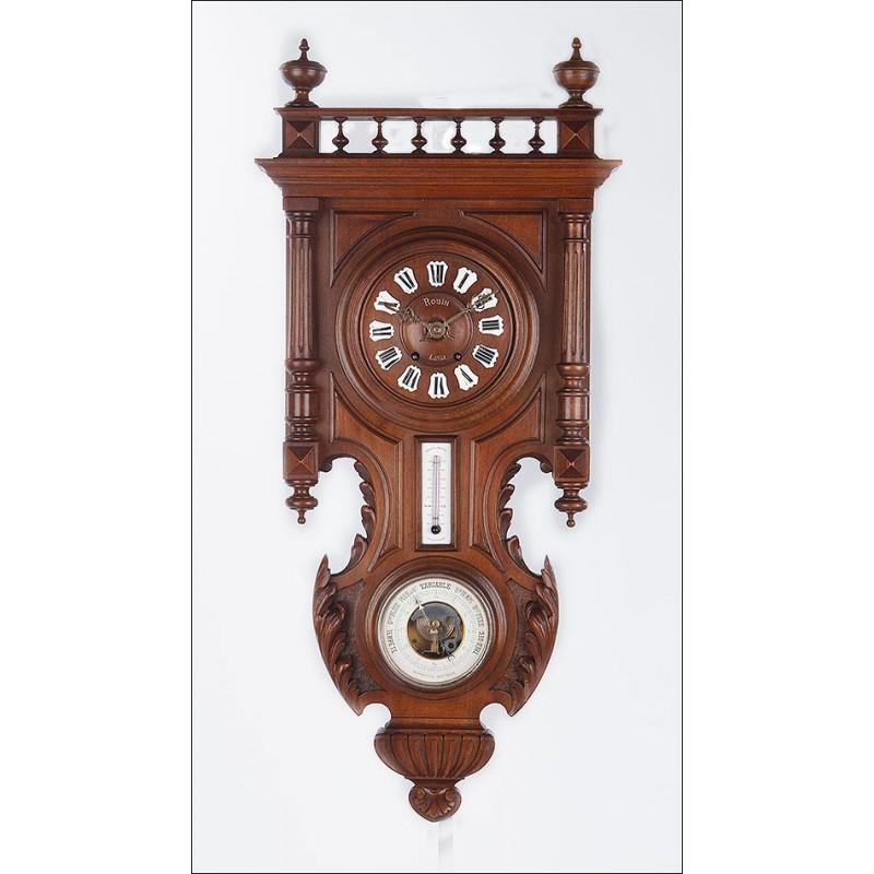 Bello Reloj de Pared Antiguo con Barómetro y Termómetro. Francia, Fines del S. XIX