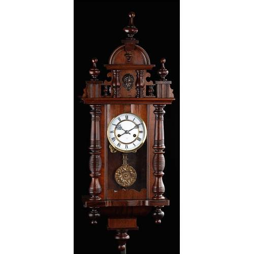 Reloj de Pared Antiguo Fabricado por HAC. Alemania, Circa 1890