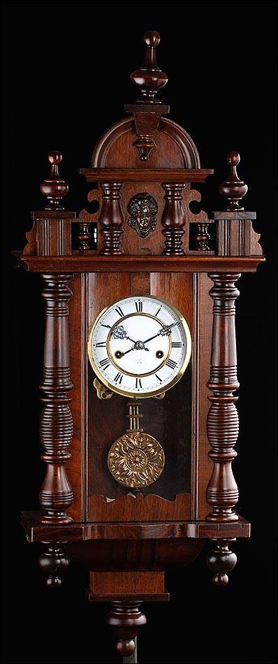 Reloj de Pared Antiguo Fabricado por HAC. Alemania, Circa 1890