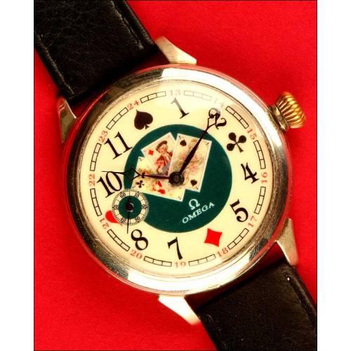 Original Reloj de Pulsera Omega para Caballero decorado con Cartas de Póker, 1915.