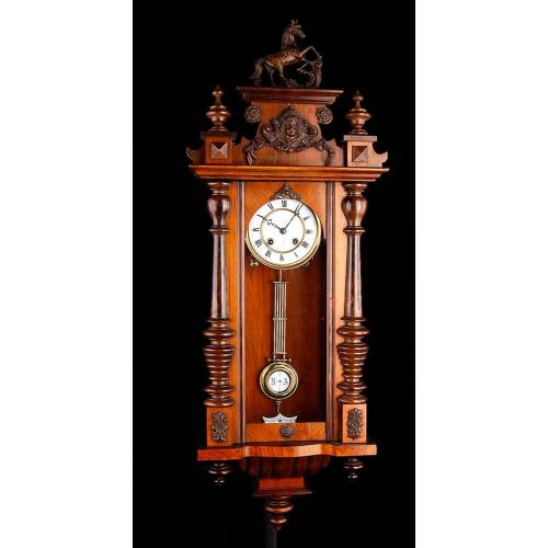 Impresionante Reloj de Pared Gustav Becker. Alemania, 1900. Magnífico Estado