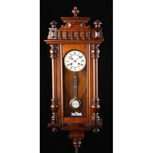 Magnífico Reloj de Pared Perfectamente Restaurado y Funcionando. Alemania, Ca. 1890