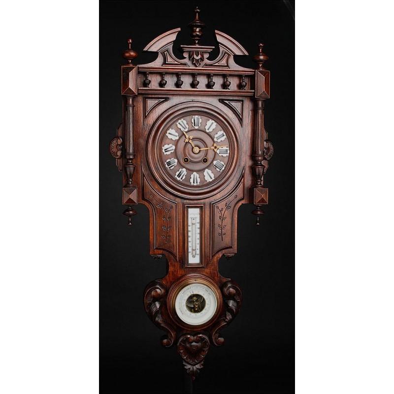 Antiguo Reloj de Pared Francés Con Barómetro y Termómetro. Circa 1900
