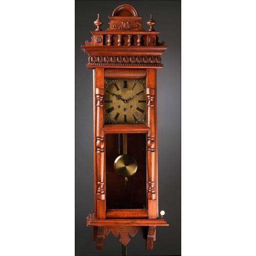 Importante Reloj de Pared Alemán del Año 1900. Sonería Westminster. Restaurado y Funcionando