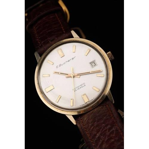 Reloj de Pulsera de Oro 14K para Caballero, Fabricado en Suiza por Bucherer en los Años 50. Funcionando