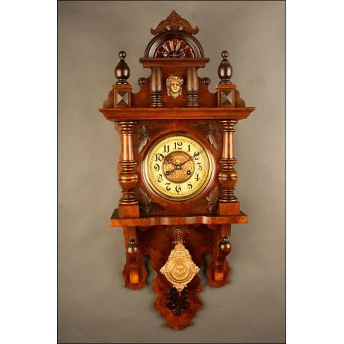 Reloj de Pared Alemán Kienzle, Ca. 1.910. En Excelente Estado de Conservación y Funcionamiento