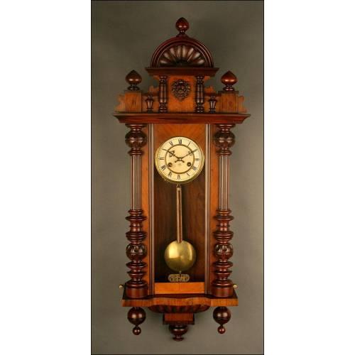 Reloj de Pared Alemán Junghans de 1.900. Restaurado y Revisado. Funciona Perfectamente