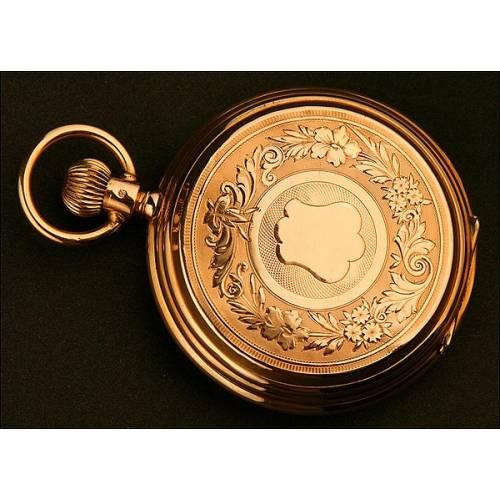 Reloj de Bolsillo Saboneta, Suiza, Oro 14K, Año 1880