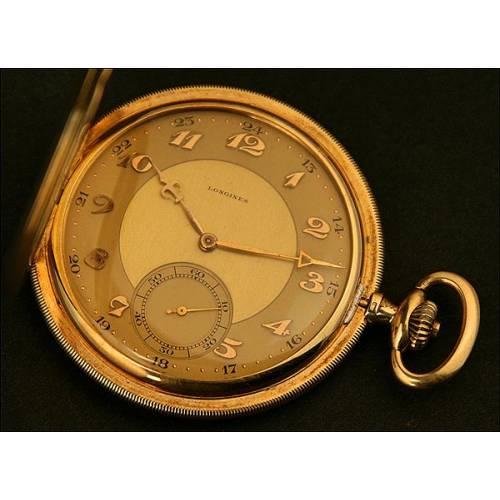 Reloj de Bolsillo Saboneta, Art-Decó, Longines Modelo Grand Prix 9, en Oro 14K, Año 1925 (aprox.)