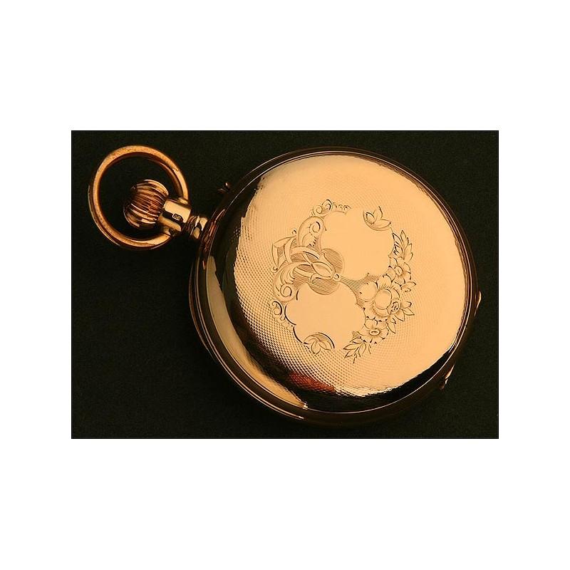 Reloj de Bolsillo Saboneta, Suiza, Oro Macizo, circa 1900