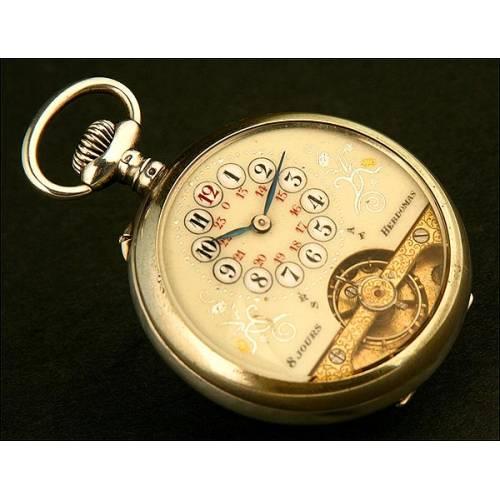 Reloj de Bolsillo Lepine, Hebdomas, Suiza, Plata Maciza, 8 Días Cuerda, Año 1890. Inusual