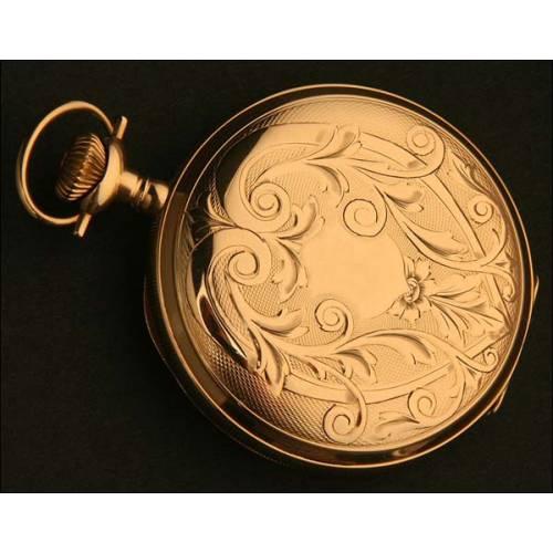 Reloj Saboneta de Bolsillo Elgin, USA, Oro Macizo, Año 1911