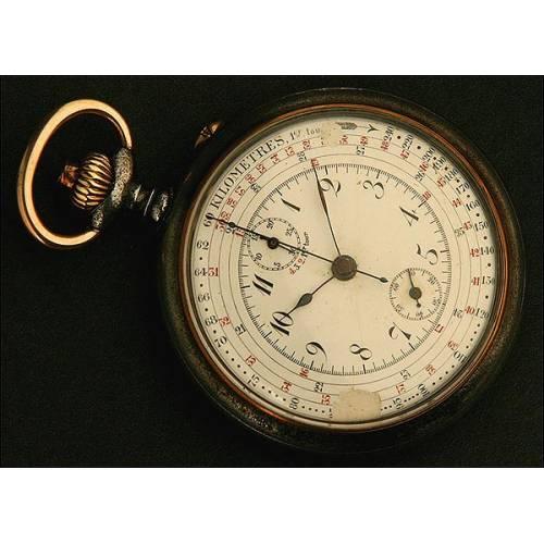 Reloj de Bolsillo Lepine, Cronógrafo, Taquímetro, Suiza, Año 1890