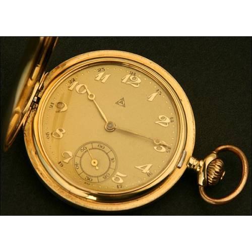 Reloj de Bolsillo Saboneta Alpina, Suiza, Oro Macizo, circa 1925