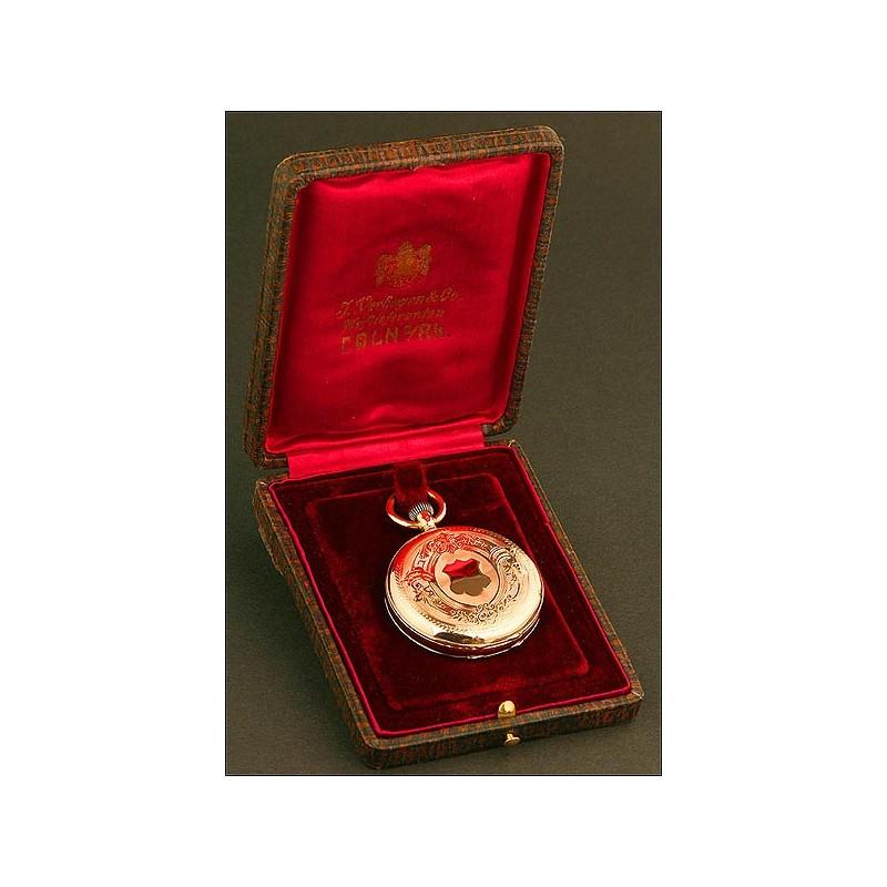 Reloj de Bolsillo Saboneta Suizo, Oro de 14 K, caja Ancre, de 15 Rubíes, año 1880, en Estuche Original Alemán de Piel