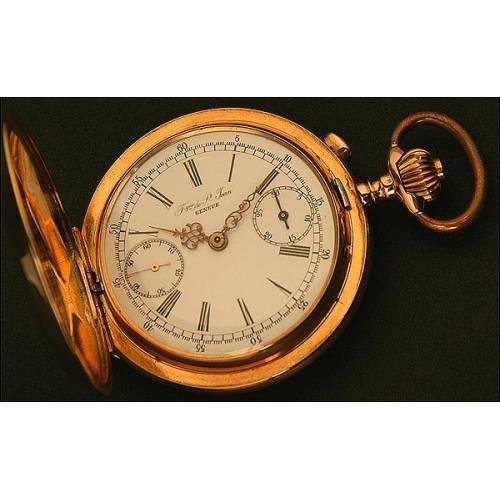 Reloj-Cronómetro de Bolsillo, Saboneta, Oro macizo, Suizo, Fábrica de St. Jean, 18 Rubíes, Año 1870, con Cadena