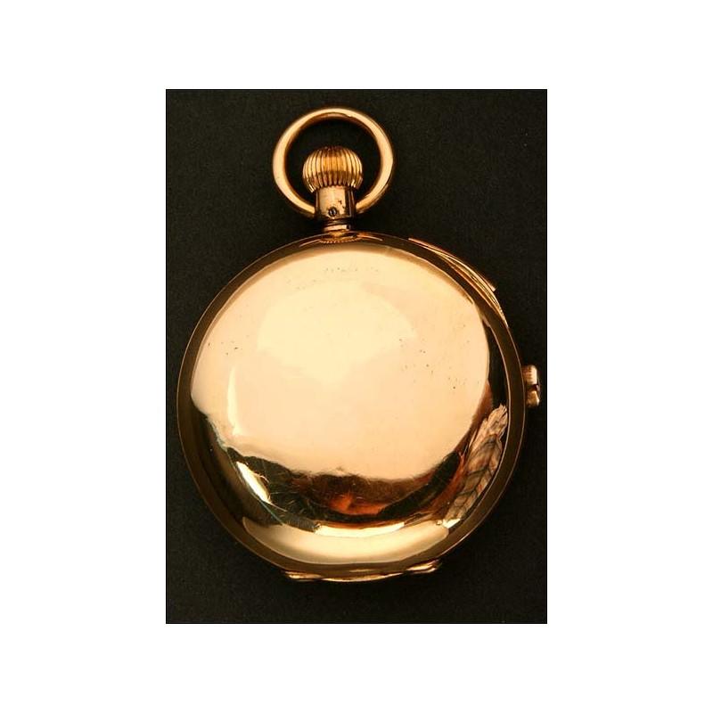 EXCLUSIVO Reloj de Bolsillo en Oro Macizo de 18K con Sonería y Cronógrafo. 3 tapas. 1900