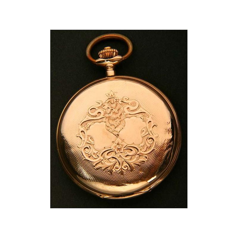 RARO Reloj de Bolsillo en Oro con Rosetón DOBLE. 1900