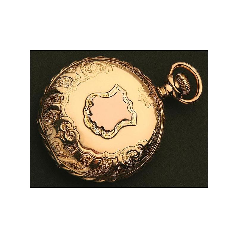 Reloj de Bolsillo Americano Waltham, Saboneta, Oro Macizo 14K, de 1896