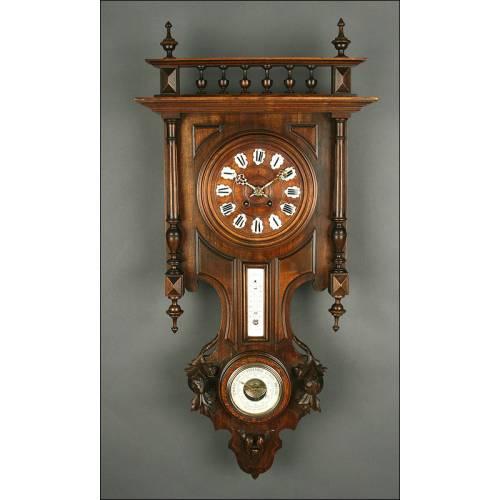 Reloj de Pared con Termómetro y Barómetro. Francia, S. XIX. En Madera Maciza y Funcionando