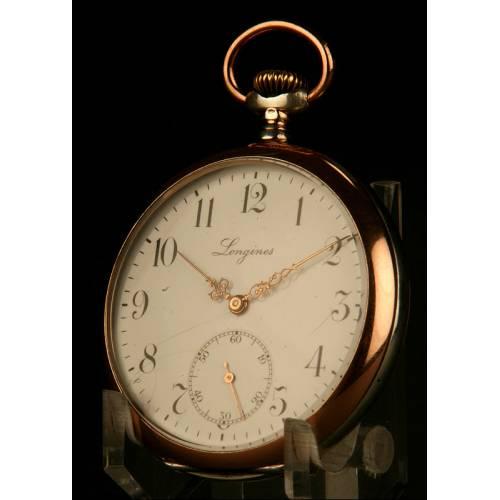 Elegante Reloj de Bolsillo Longines de Plata Maciza, Ca. 1910. Funciona Perfectamente