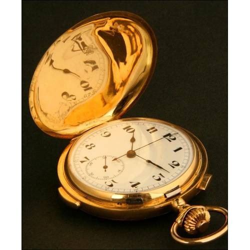 Precioso Reloj de Bolsillo de Oro Macizo de 18 K, con Cronómetro y Sonería. Circa 1910