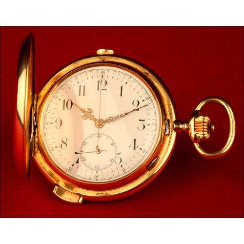 Reloj de Bolsillo con Sonería a Cuartos y Cronómetro en Oro Macizo 1896.Funcionando. 59 mm diámetro