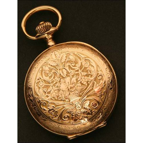 Reloj de Bolsillo Saboneta Suizo, Oro Macizo, año 1872-1902