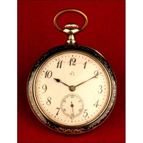 Reloj de Bolsillo Omega en Plata Nielada, 1920-1930. Funcionando.