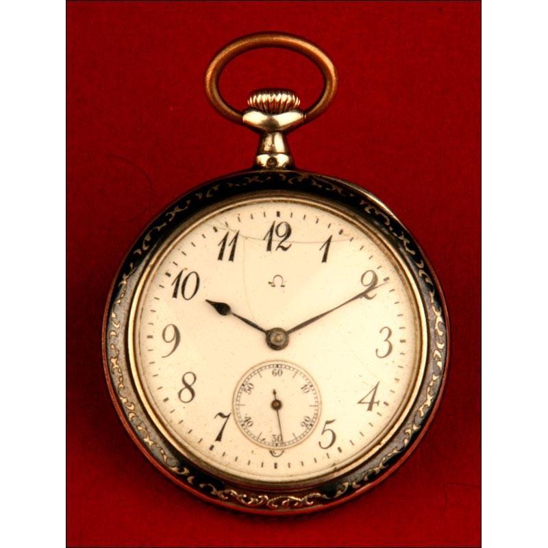 bien fuera x sin impuesto de venta moderno y elegante en moda Reloj de Bolsillo Omega en Plata Nielada, 1920-1930. Funcionando.