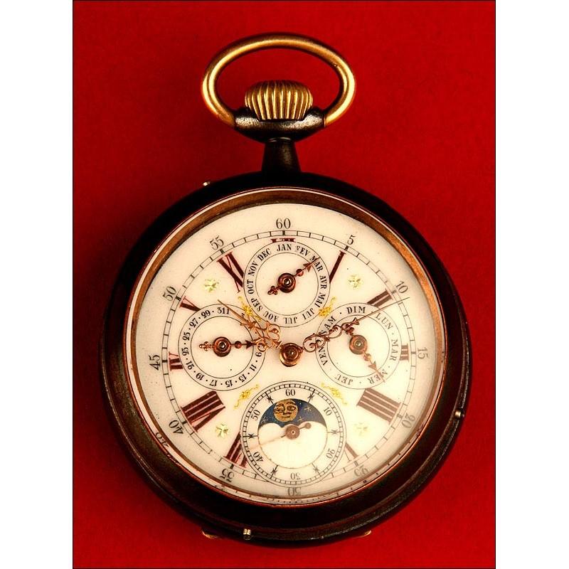 Original Reloj de Bolsillo con Calendario y las Fases Lunares. Finales del siglo XIX. En Perfecto Estado de Funcionamiento.