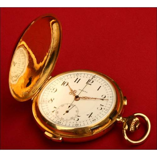 Reloj Cronógrafo con Sonería. Invicta. Suizo. 1900. Oro macizo de 18 kts.