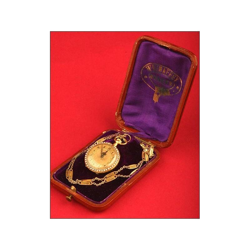 Reloj-colgante francés en oro 18 kts.