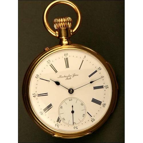 Reloj de Bolsillo con sonería  e Oro de 18K. Suiza, 1820-1866.