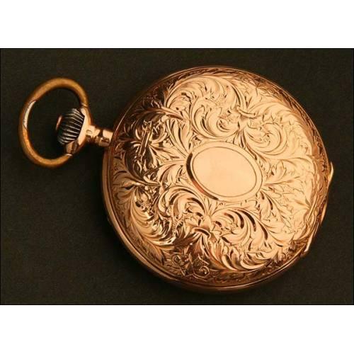 Reloj de Bolsillo Saboneta, Suiza, Oro Macizo, Año Circa 1900
