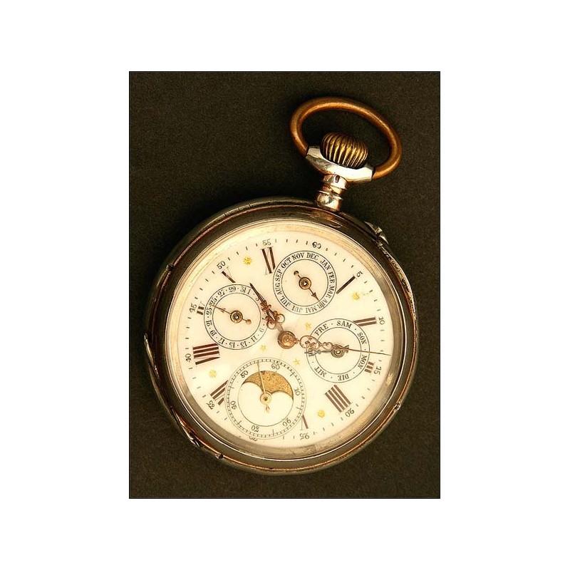 Reloj Lepine de Bolsillo, Astronómico, Calendario y Fase Lunar, Circa 1880