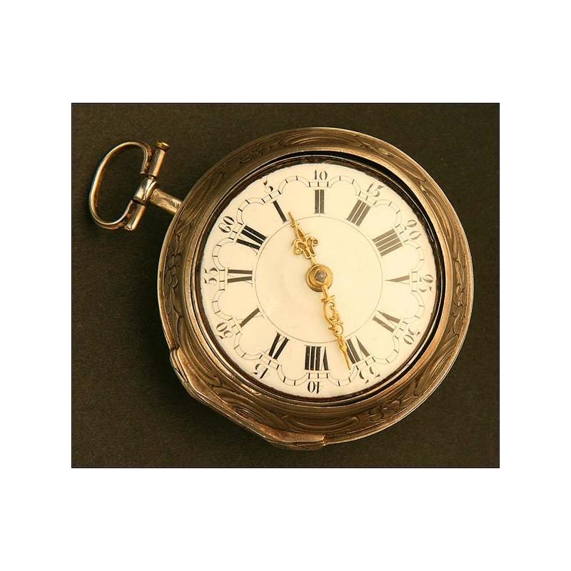 Reloj Lepine de Bolsillo Catalino, Doble Caja de Plata Circa 1785