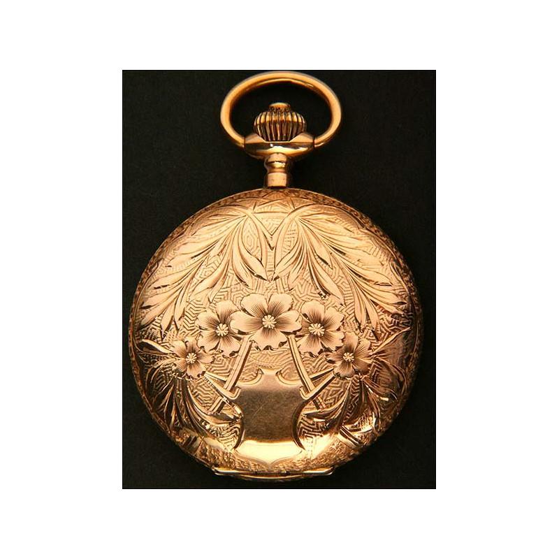 Precioso Reloj de Bolsillo de Estilo y Época Modernista en Oro Macizo. 1893-1910