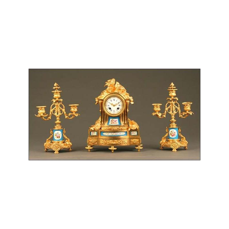 Reloj de Sobremesa, Bronce dorado y Sévres, Francia, Segunda Mitad S. XIX