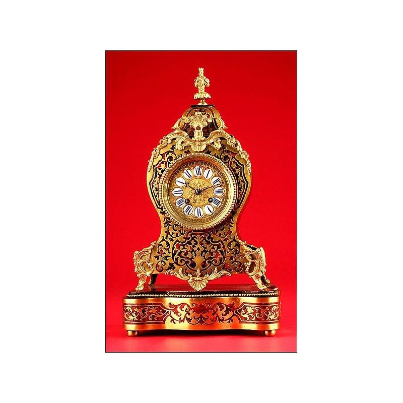 Impresionante Reloj de Sobremesa Boullé. Ca. 1870. Funcionando y perfecto.