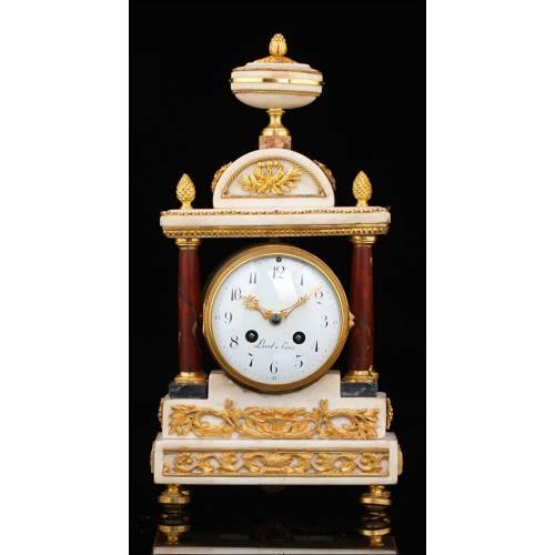 Bellísimo Reloj de Sobremesa Antiguo de Mármol y Bronce. Francia, Circa 1870