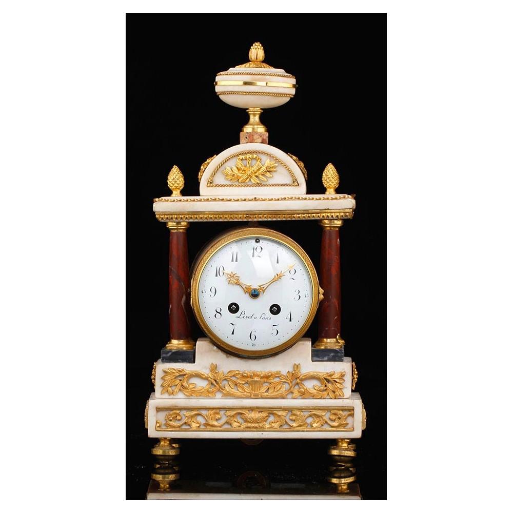 Reloj de sobremesa antiguo de m rmol y bronce francia - Relojes de sobremesa antiguos ...