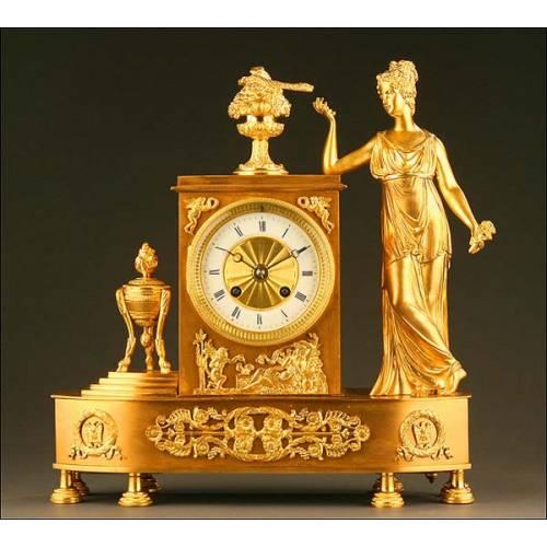 Reloj de Sobremesa, Bronce Dorado, Francia, Año Circa 1875