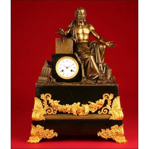 Gran Reloj Monumental Francés de Mármol y Bronce. Último Tercio del S. XIX. Funcionando